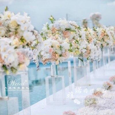 4 pcs/lot mariage cristal fleur Vase acrylique mariage colonne fleur Stand route conduit pour mariage pièce maîtresse décoration