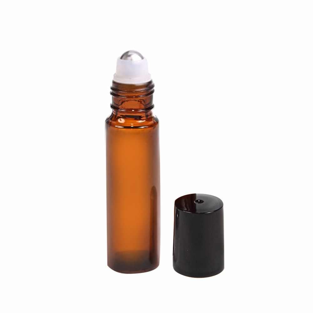 Botellas de rodillo de aceite esencial Alledomain 10 ml, rellenables, de color oro rosa, con bolas de acero inoxidable y tapa de oro rosa, incluye 12 etiquetas