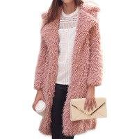 Winter new wool coat female 2018 coat lapel furry long coat coat