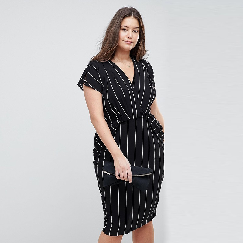 HDY Haoduoyi 2019 Casual Print Striped A-Line Fashion Large Size Vestidos Summer Brief Lady Knee-Length Split V-Neck Dress