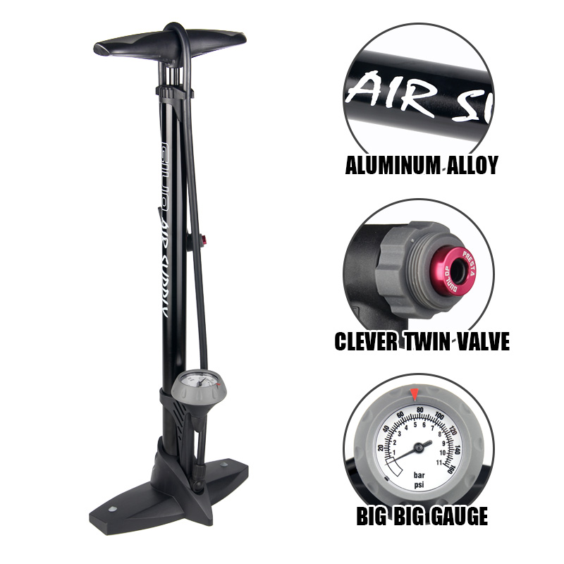GIYO Tire Pump For Bicycle Presta Schrader Bike Pumps Pressure With Gauge 160PSI Tire Pump Floor Air Inflator Foot Bicycle Pump beto tire air fork bicycle pump portable mini inflator bike pump gauge 300psi high pressure pumps mp 036 av fv schrader presta