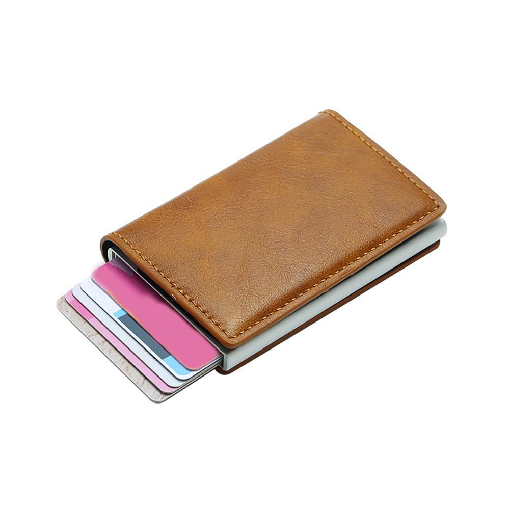 100% QualitäT Frauen Männer Ich Clip Geld Karte Rfid Sperrung Id Kreditkarte Halter Fall Brieftasche Anti-theft Sichere Echtem Leder Karte Brieftasche üBerlegene Materialien