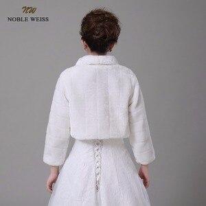 Image 2 - NOBLE WEISS Discount long sleeve wedding jacket Bride cape winter bride fur shawl bolero women wedding coat ivory color 0847