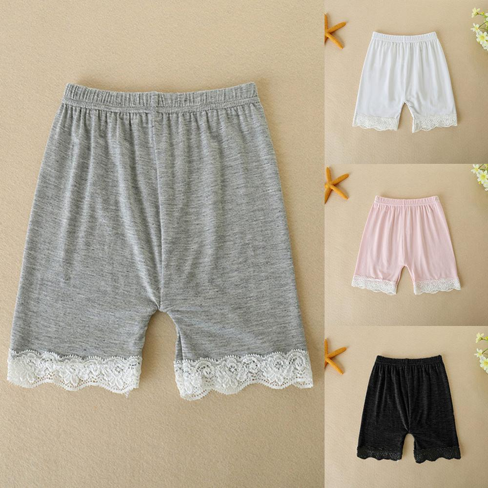 2-7 Years Cotton Solid Color Safety Pants Toddler Children Kids Baby Girls Lace   Shorts   2019 New Fashion