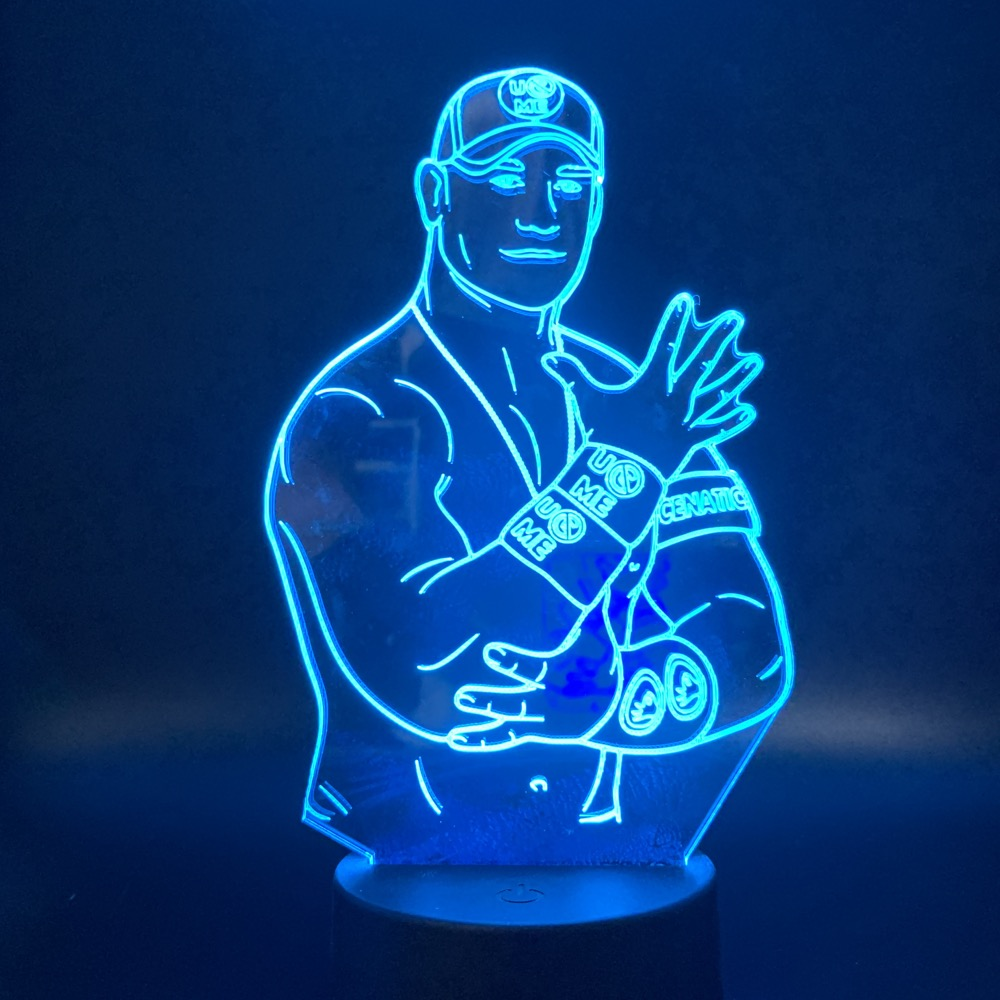 Led Night Light Sport Wrestler Celebrity John Cena Touch Sensor Color Changing Nightlight For Office Room Decor Cool Table Lamp