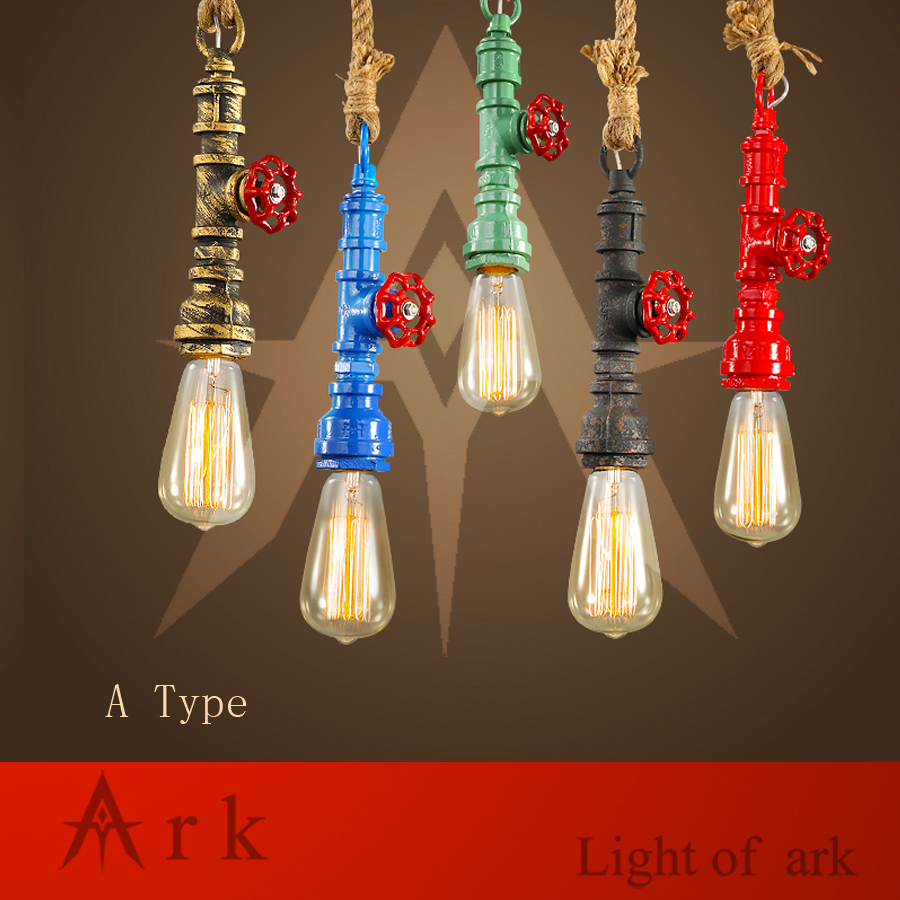 ARK LIGHT Loft Vintage  colorful Personalized Bar Lighting Industrial Vintage Water Pipe Pendant Lamp E27 Edison lamps