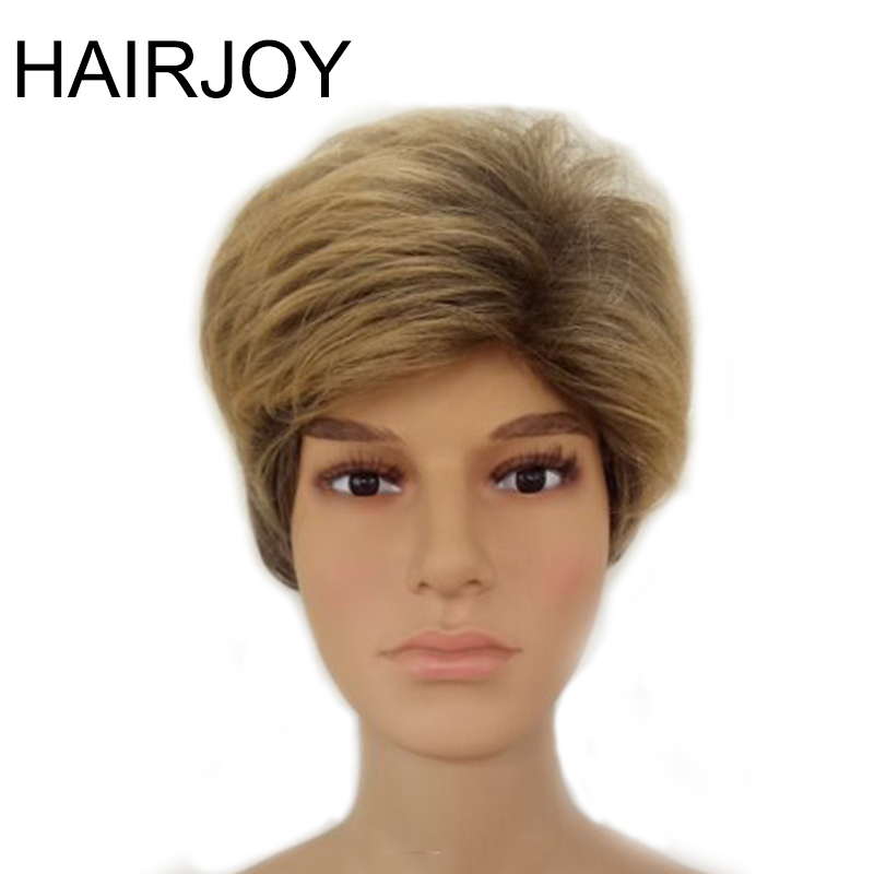 HAIRJOY Male Synthetic Ombre Hair Brown Mixed Short Straight Layered Natrural Wig Man High Temperature Fiber Wigs Free Shipping
