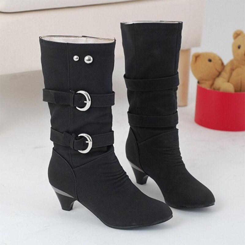 Women Mid Calf Boots Plus Size Autumn Buckle Strap Zipper Mid Heels Female Shoes Fashionable Comfortable Ladies Footwear 2018 mid size