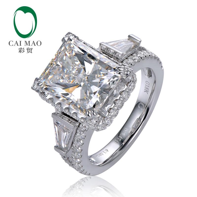 Caimao 3.70ct F Radiant Moissnaite with 1.15ct Accent Moissanite 14K White Gold Engageme ...