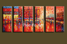Huge Muti Panel abstract modern canvas wall handpainted Palette Knife paint oil painting on canvas for living room decoration