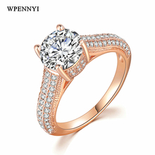 Rose Gold Color Shiny 8mm 2ct Clear Cubic Zirconia Crystal Micro Inlay Craft Women Engagement Ring Wholesale Fashion Gift