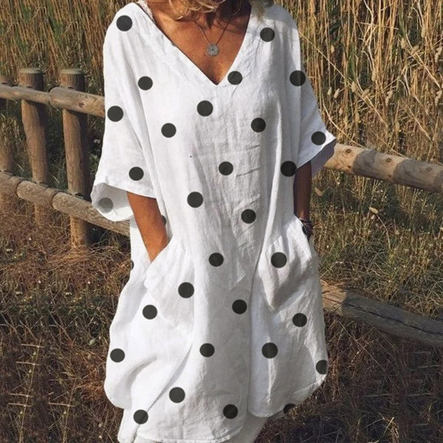 Women Summer Dress Lady Half Sleeve Polka Dot Print Dress pocket Solid Sexy Loose Pure Color Dress Vestido Plus Size Dresses