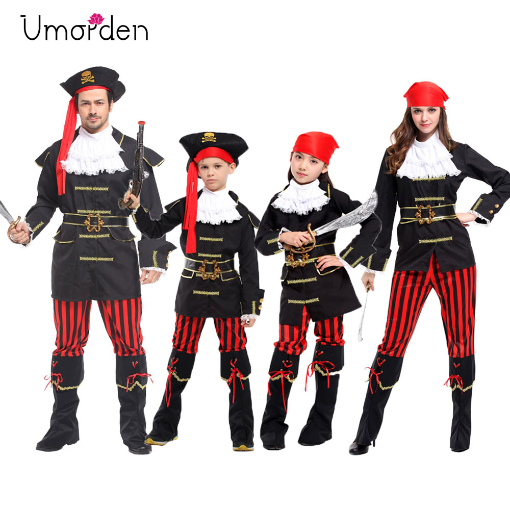 Umorden Red Scarf Royal Pirate Captain Costume For Kids Boys Girls Men Women Family Halloween Party Costumes Cosplay Jacket Coat