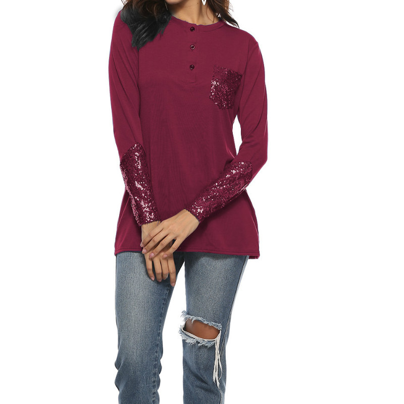 Sequin Autumn Women Sequined Button T Shirts Top O Neck Long Sleeve Female  Casual Patchwork Pocket Basic T Shirt Plus Size GV213-in T-Shirts from  Women s ... 8d9bee0b0210