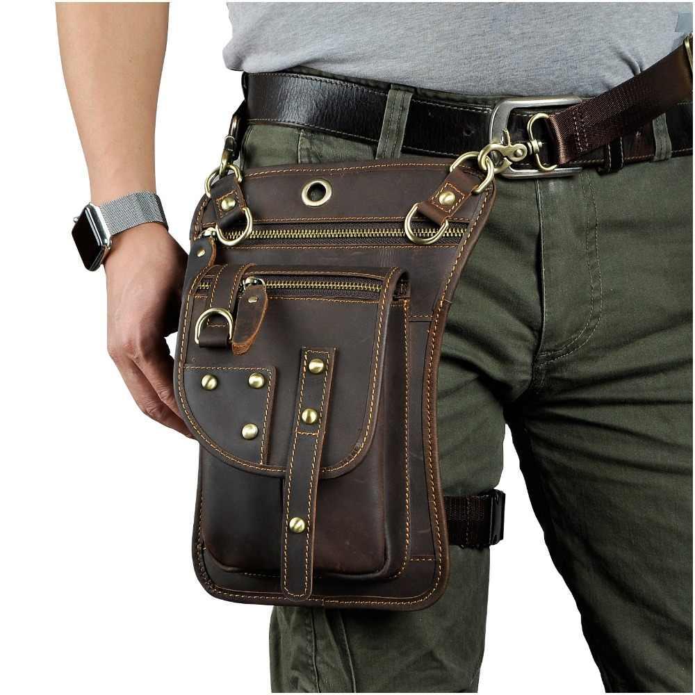 リアルレザー多機能男性片方の肩クロスボディメッセンジャーバッグフックウエストパック電話シガレットケースドロップ脚バッグ 2141