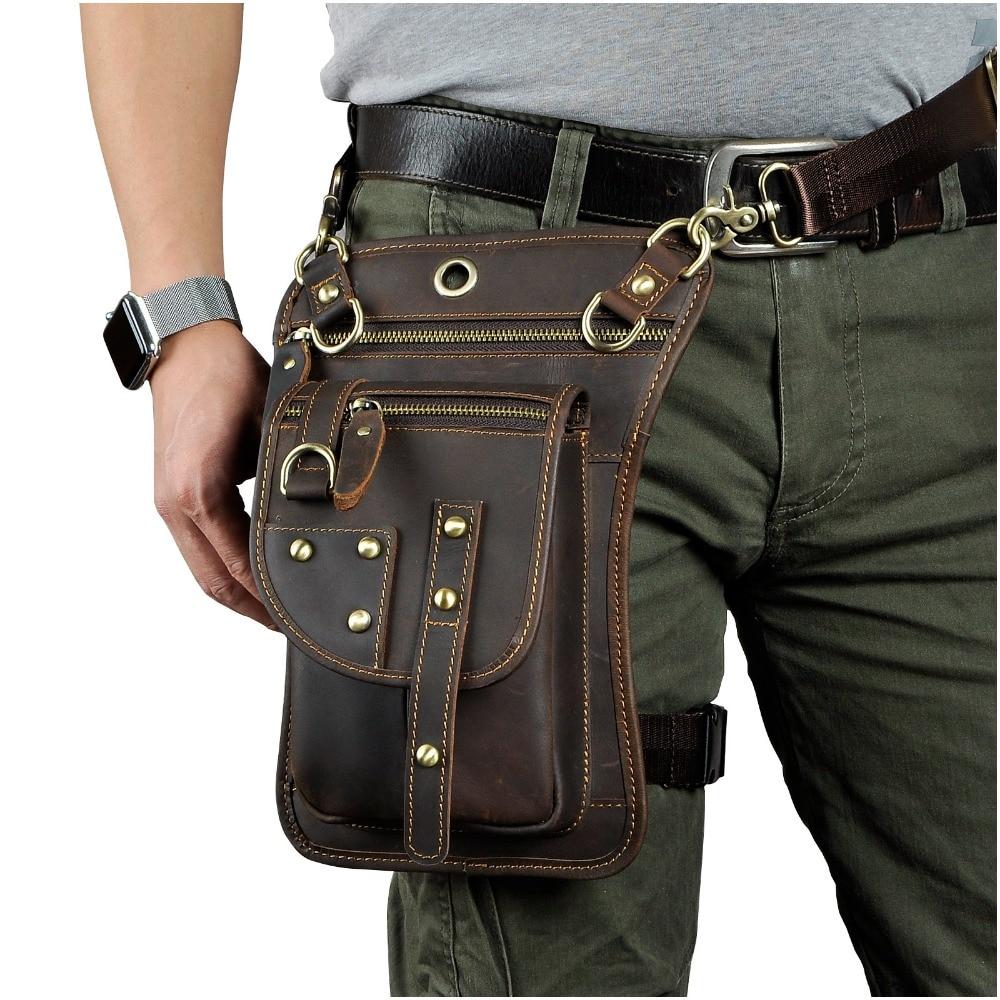 Real Leather Multifunction Men One Shoulder Crossbody Messenger Bag Hook Waist Pack Phone Cigarette Case Drop Leg Bag 2141 one shoulder flounce wide leg jumpsuit