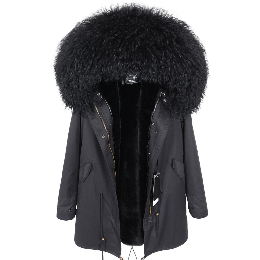 women s winter wool jacket Coat Fashionable Hooded Parkas Warm Coat Quality Female Winter coat natural