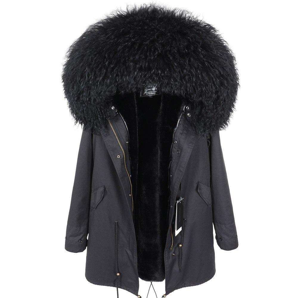 Chaqueta de lana de Invierno para mujer abrigo de moda con capucha Parkas abrigo de invierno de calidad para mujer Parka de piel natural-in piel real from Ropa de mujer    1