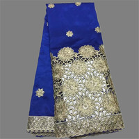 Noble Pattern Royal Blue With Nice Embroidery Mesh Lace African George Lace Fabric With Sequins For
