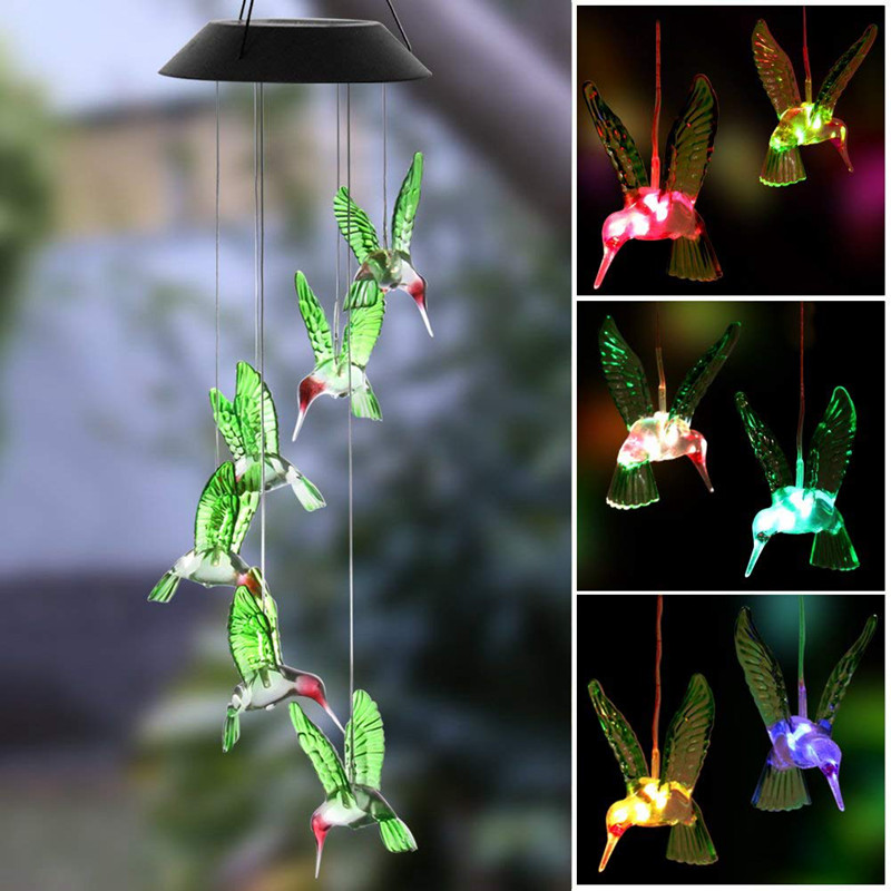 Color Change Solar Wind Chime Light Solar Lamp Hummingbird Waterproof Outdoor LED Solar Light For Home Party Garden Yard Patio