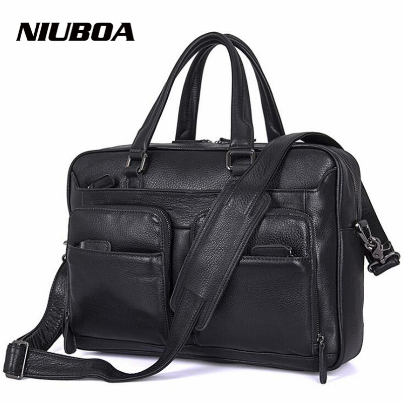 NIUBOA 100% Genuine Leather Men Casual Briefcase New Business Shoulder Black Cowhide Messenger Bags Computer Laptop Handbag