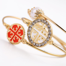 Latest New Arrival Female Bangle Accessory Orange & Black Acrylic Pearl Cross Round Charm Enamel Sets