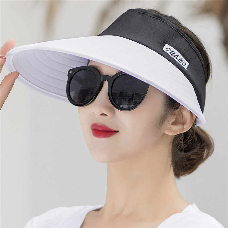 e02d027d Detail Feedback Questions about Sun Hat Summer Empty Top Hats Fashion  Visors Women Foldable Wide Brim With Outdoor Travel UV Beach Cap Headwear  on ...