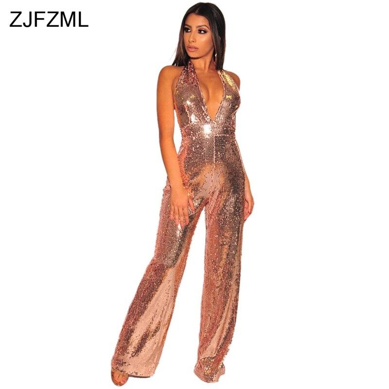 12e6fddecdb8 Glitter Sequin Jumpsuits For Women 2018 Apricot Halter Backless Wide Leg  Pant Bodysuit Elegant Cold Shoulder