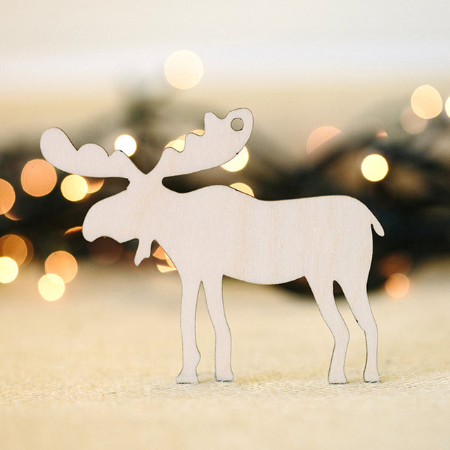 pack of 10pcs wooden deer shape laser cut with hemp rope christmas tree ornaments wood tree - Wooden Deer Christmas Decorations
