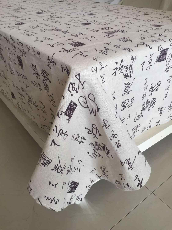 Menebal Kapas Kain Linen Gaya Cina Taplak Meja Gaya Cina Copybook Kaligrafi Cover Meja untuk Pernikahan Meja Teh