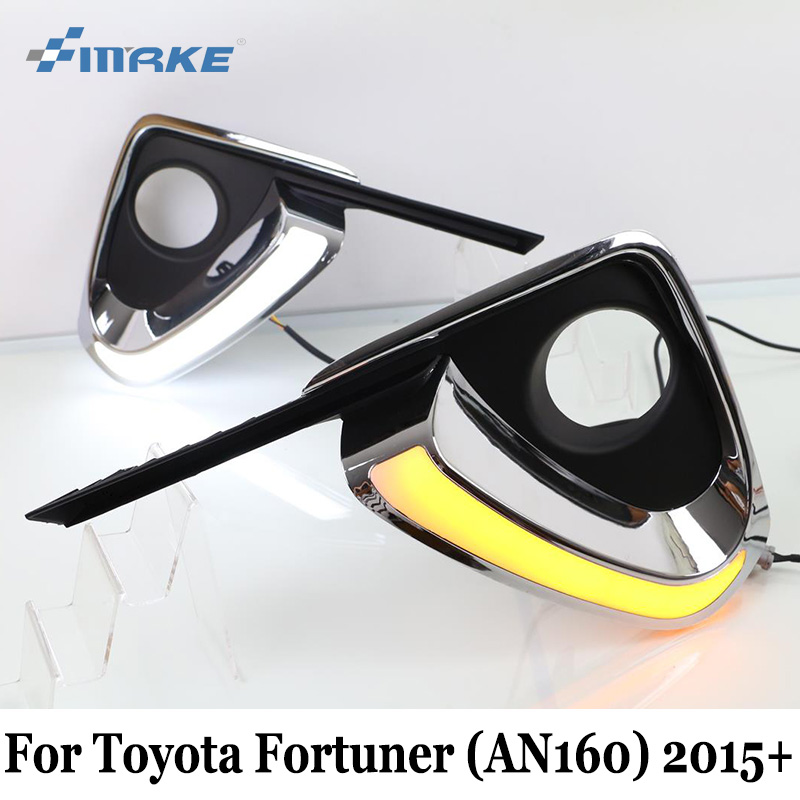 SMRKE DRL For <font><b>Toyota</b></font> Fortuner (AN160) <font><b>2015</b></font> 2016 2017 / Car Daytime Running Lights With Turn Signal Lamp / Two Colors Car Styling image