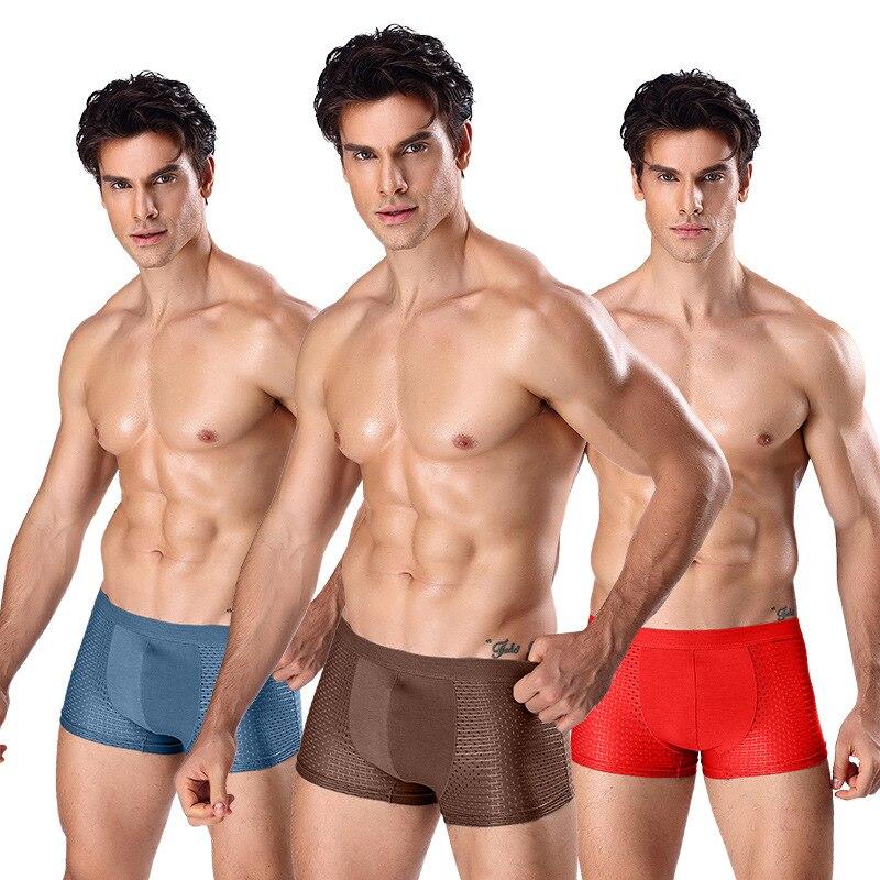 3Pics/Lot Mesh Ice silk Underpants Men Boxer Shorts Men Panties Male Underwear Breathable Men Boxers Sexy Mens Underwear Lot
