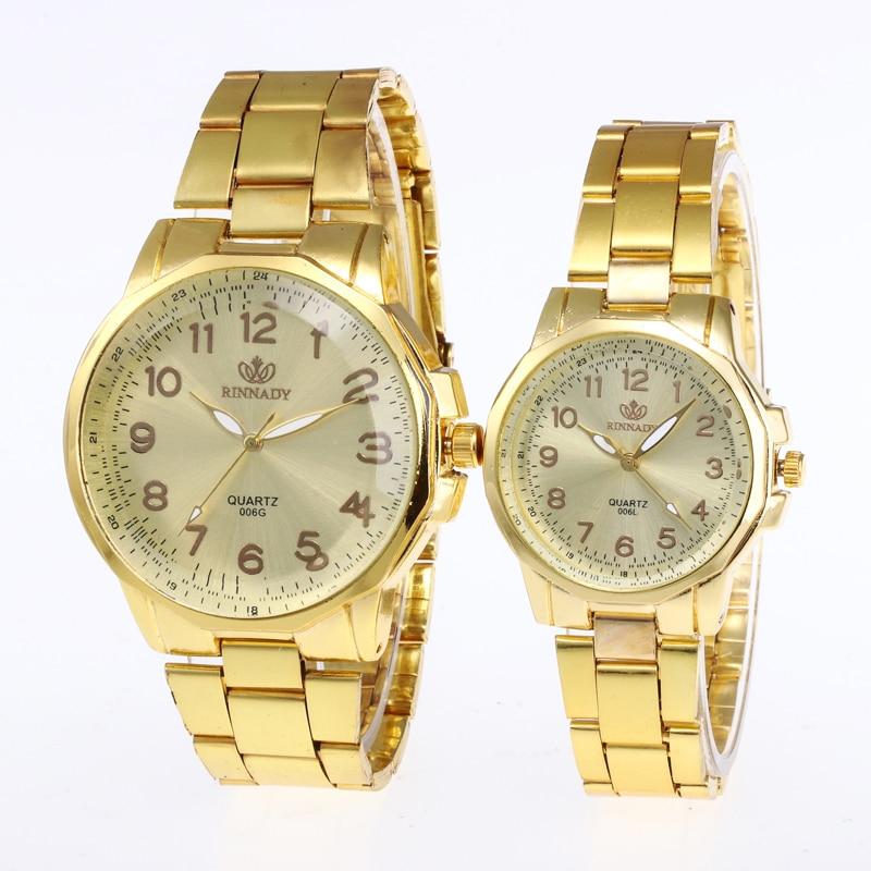 Dropship Relogio 1PC Full Steel Lovers Watches Fashion Luxury Men Watch Women Gold Silver Analog Quartz Wrist Watch Erkek Saat