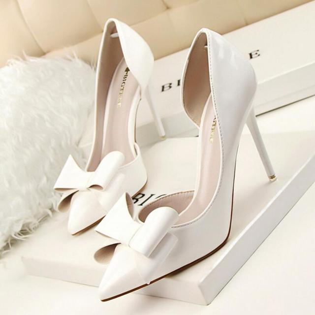{D&H}Brand Women Shoes High Heels Women's Pumps  Bow Two Piece Thin Heel Wedding Shoes Valentine Shoes White  zapatos mujer