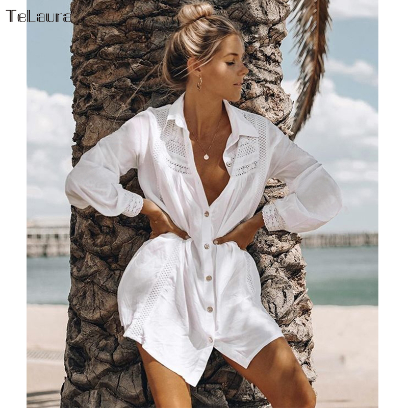Swimsuit Cover-Up Beach-Dress Bikini Tunic White Women Summer New Lace