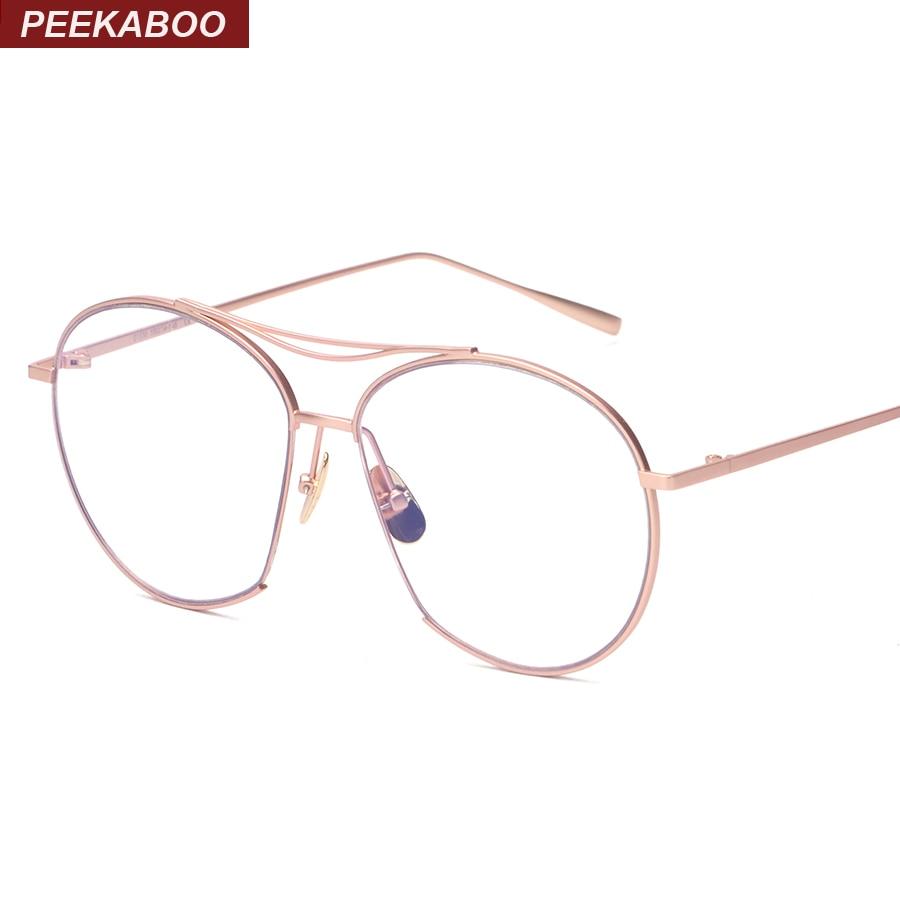 peekaboo metal rose gold eye glasses frames for women brand designers 2016 big trendy vintage spectacle frames women men large