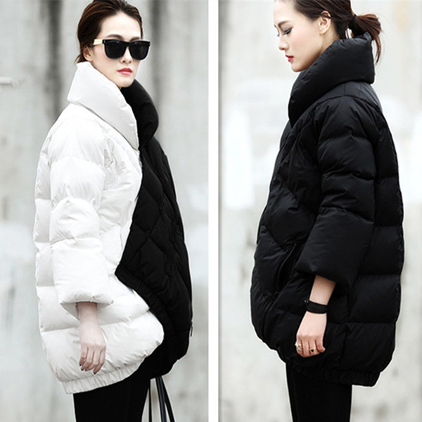 Winter new arrival patchwork black color block loose plus size down coat europe style medium-long plus size outerwear