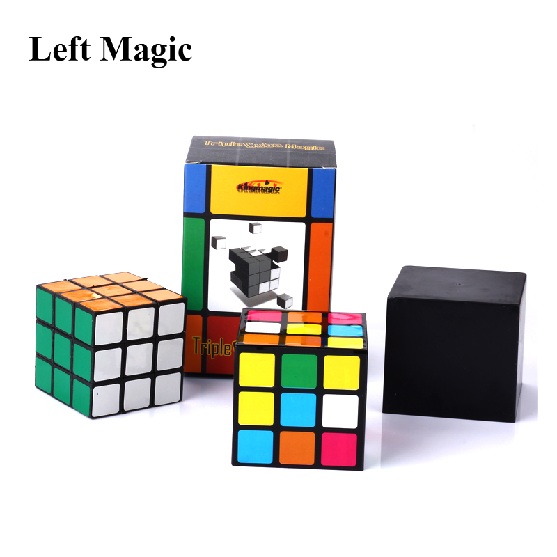 Triple Diko Cube Magic Tricks Irelia Magic Set  Illusion  Cube  Magic Disappear Close Up Stage Street Magic Props Gimmick