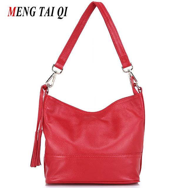 Genuína mulheres de couro mensageiro sacos bolsas mulheres famosas marcas sacos de ombro balde borla saco 2016 sacos de moda crossbody 4
