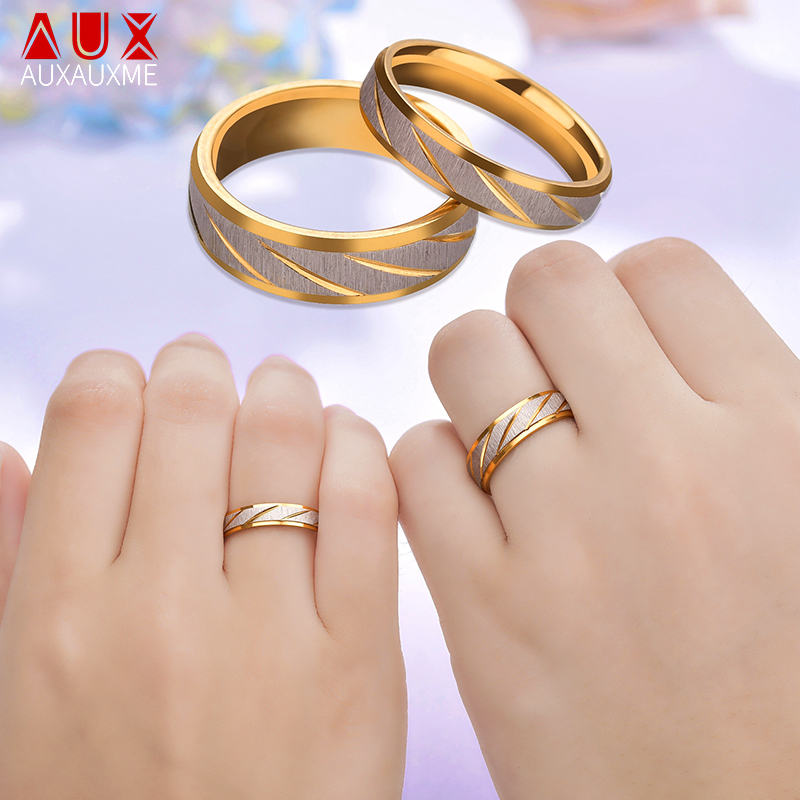Auxauxme Titanium Steel Engrave name Lovers Couple Rings Gold Wave Pattern Wedding Promise Ring For Women Men Engagement Jewelry image