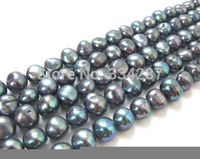 wholesale 5pcs 10 11MM black baroque freshwater pearl beads