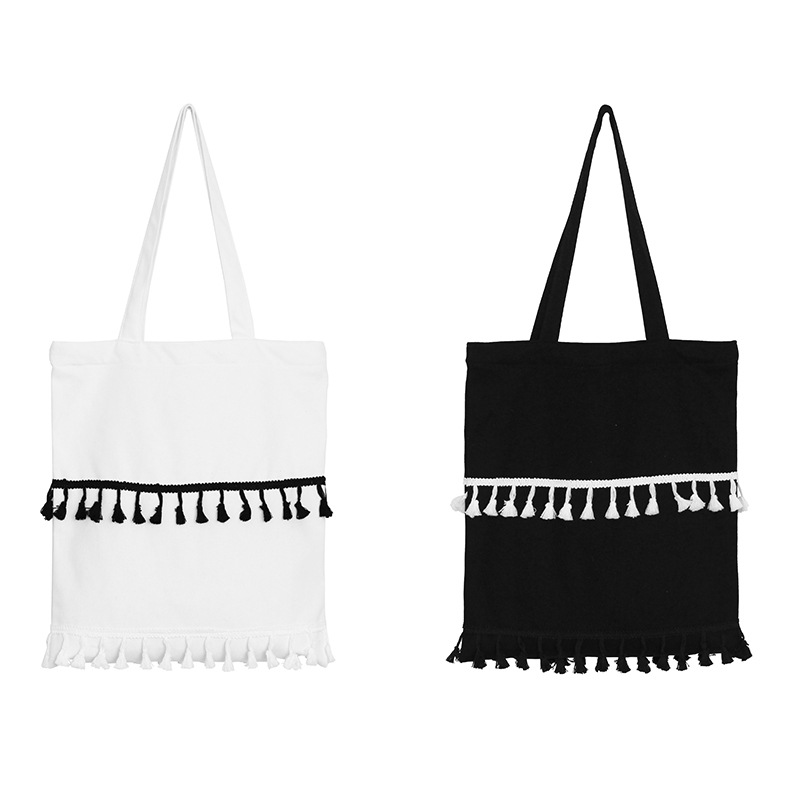 PP04Black and white tassel Korean cute fringed bag hit color canvas shoulder bag