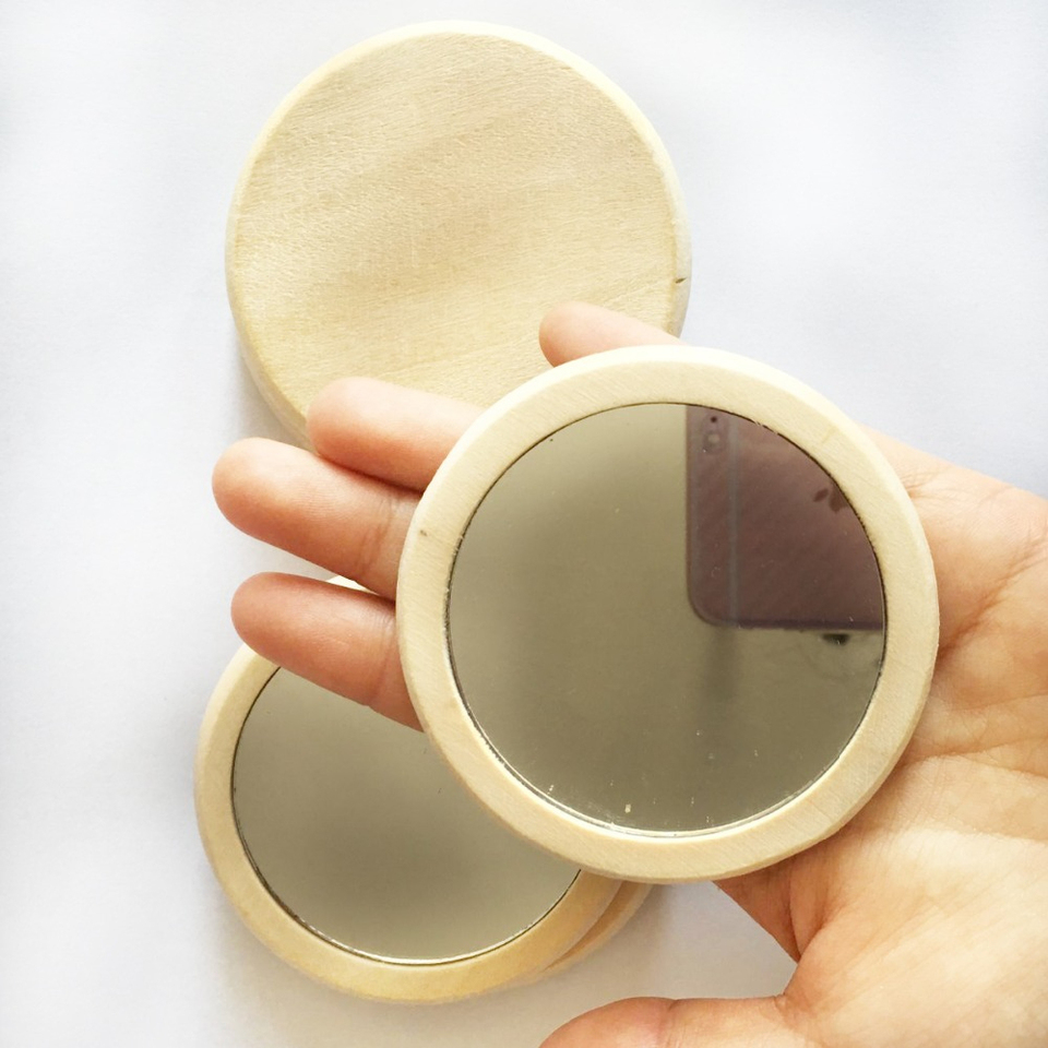 50pcs Wood Small Round Mirror Portable Pocket Hd Mirror Wooden Mini Makeup Mirror 7cm Makeup Mirrors Aliexpress