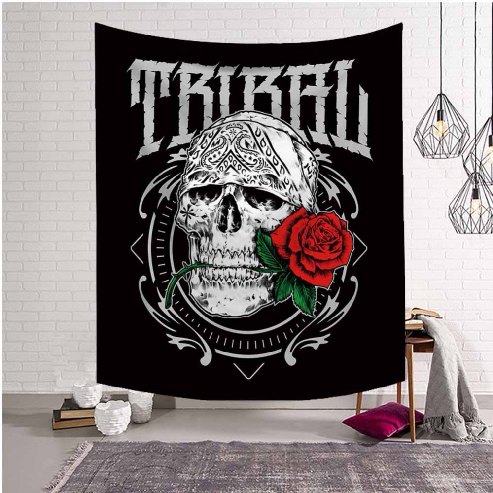 Gothic Skull Tapestry Wall Hanging Prophecies by Brizbazaar Bedspread Tarot Tribal Wall Carpet Geometric Abstract Art Sheet Rugs