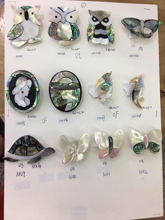 6 ensembles plus grand corsage en coquillage naturel 20-50mm, bijoux en coquillage, fleur, animaux, chat papillon, garçon, fille pendentif de recherche de bijoux mixte