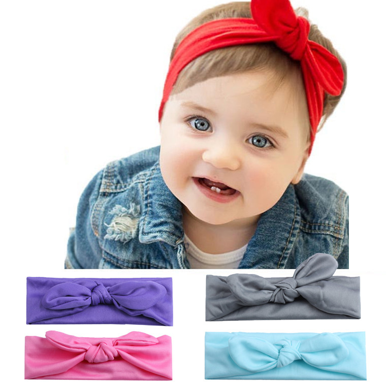 Baby Hair Accessories Baby Kids Girls Rabbit Bow Ear Hairband Headband Turban Knot Head Wraps Headband Modis #CE25