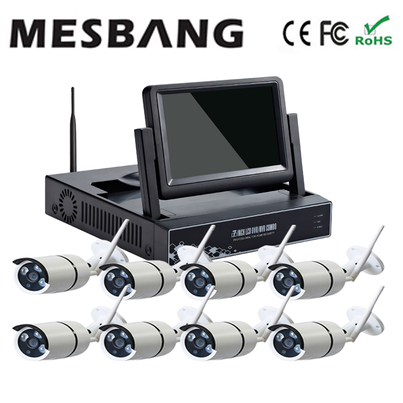 Mesbang 720P 8 channel wireless IP camera kits with 7inch monitor free shipping by DHL Fedex very fast mesbang 960p 8ch wifi wirless outdoor security system kit delivery with 7 inch monitor very fast by dhl fedex