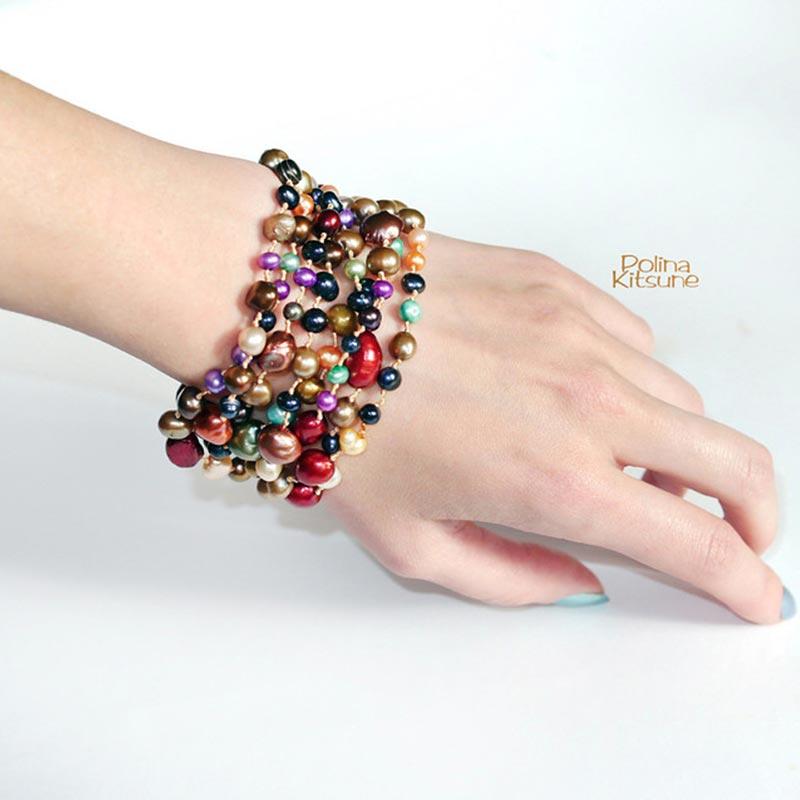 [DAIMI] collier de perles baroques multicolores 160 cm longue chaîne de chandail collier Long en perles naturelles Style plage