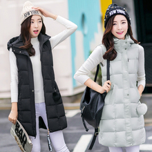 new 2016 winter vest women fashion hooded down jacket female thickening women's coat slim chalecos mujer medium-long waistcoat