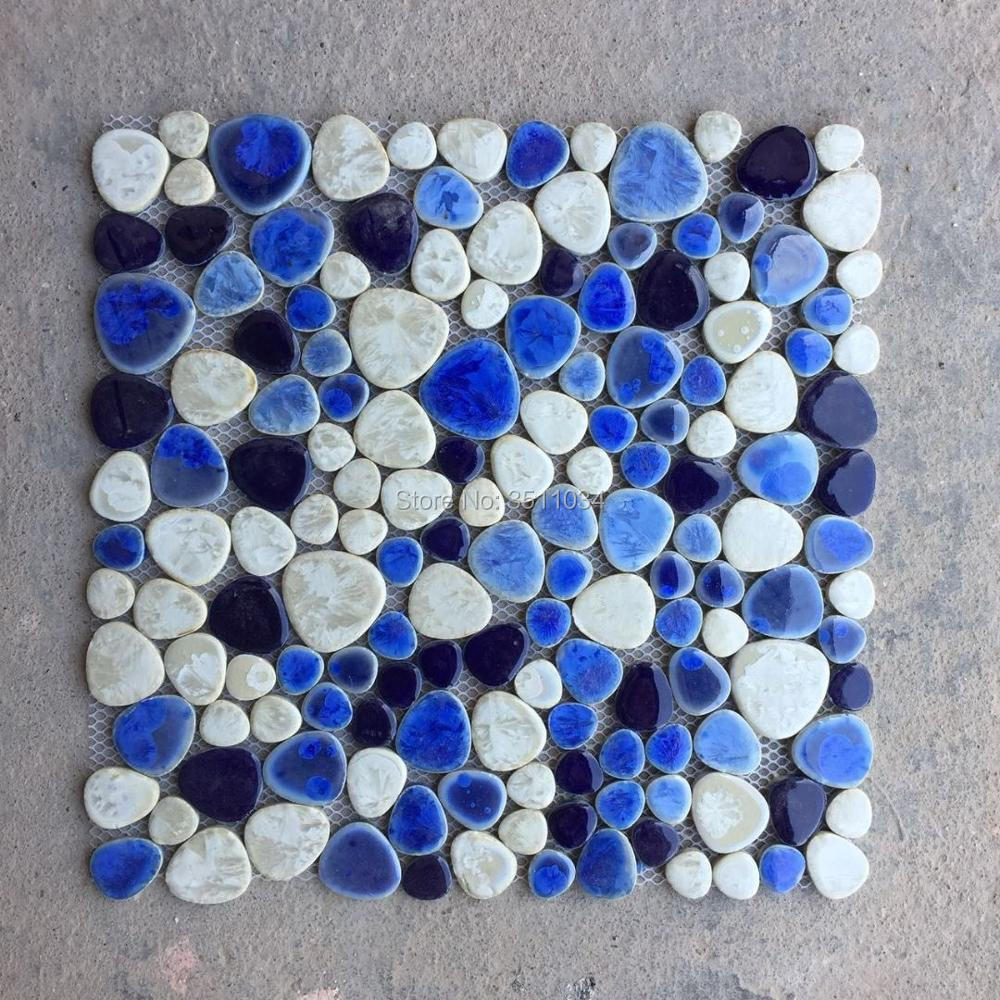 shipping free!! sea blue pebble mosaic tiles bathroom floor, wall ...